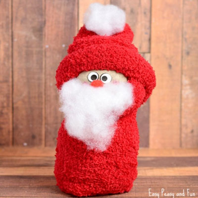 DIY Sock Santa - easy Christmas craft for kids (no-sew)