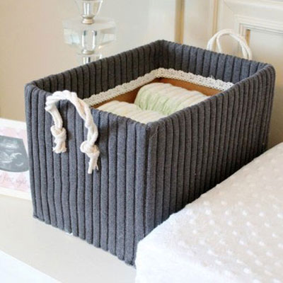 Diy storage boxes from shoe boxes and old sweaters