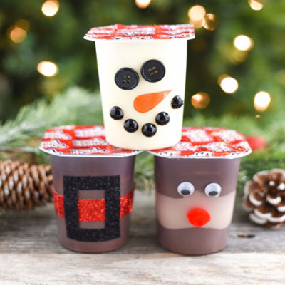 Santa,snowman and reindeer puddings - Christmas party treats