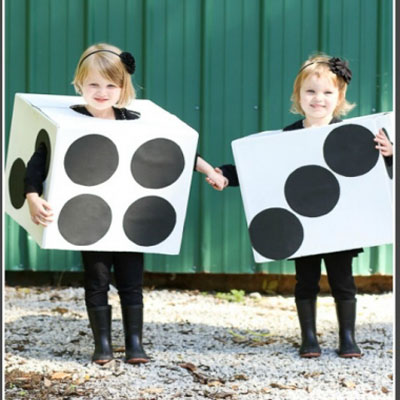 DIY Easy dice costume for kids - costume from cardboard box