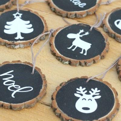 DIY wood slice & chalkboard paint Christmas ornaments