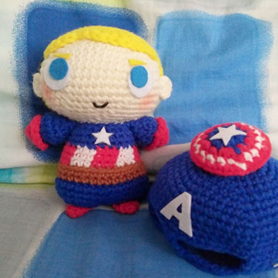 Crochet (amigurumi) Captain America doll - free crochet pattern