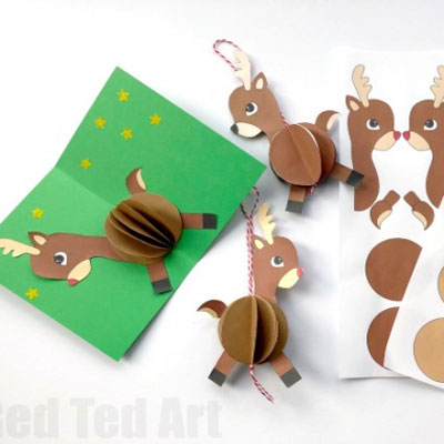 DIY Easy paper Rudolph bauble ornament