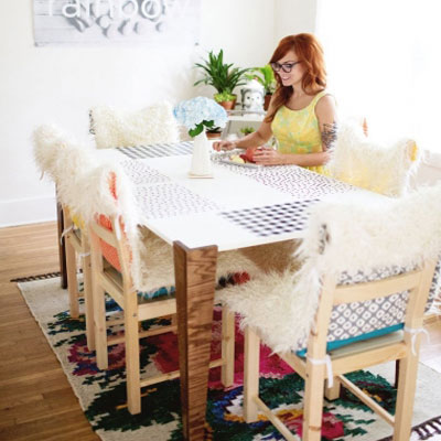 DIY Easy faux fur chair covers with pillows (free sewing tutorial)