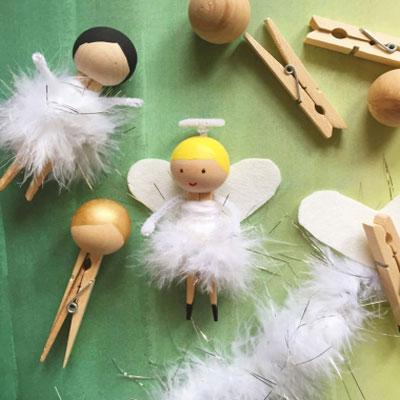 DIY Clothespin angel - Christmas craft for kids