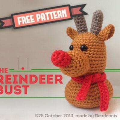 Miniature Rudolph reindeer toy (free amigurumi pattern)