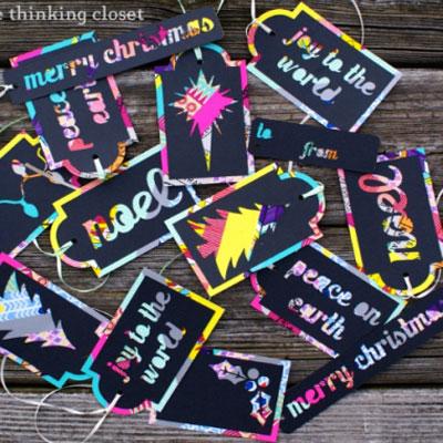 Colorful DIY washi tape Christmas tags