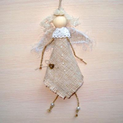 Easy DIY rustic Christmas tree ornament burlap angel