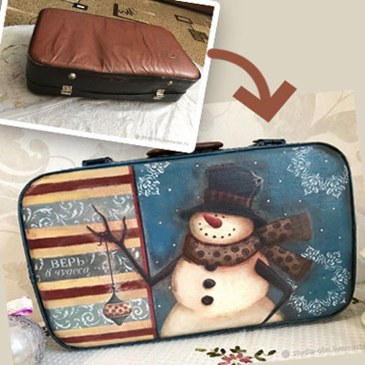 DIY snowman winter decor with decoupage from an old suitcase