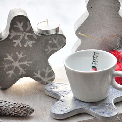 DIY Cement star & Christmas tree tea candle holders