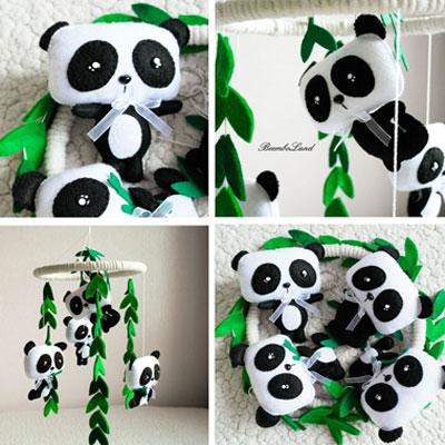 DIY Felt panda baby mobile (free sewing pattern)