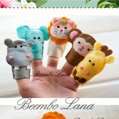 DIY Felt finger puppets - savanna animals