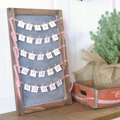 Easy DIY advent calendar from a wood picture frame