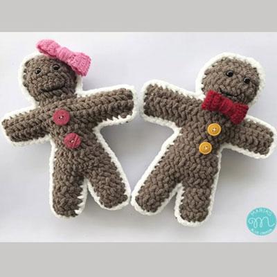 Crochet gingerbread boy and girl (free crochet pattern)