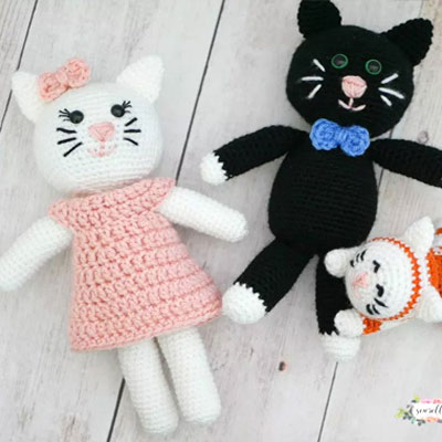 Amigurumi (crochet) cat family - free crochet pattern