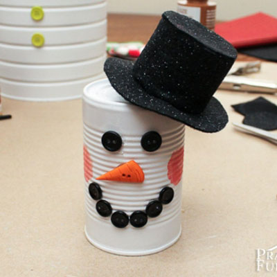 Tin can snowman - easy winter craft for kids