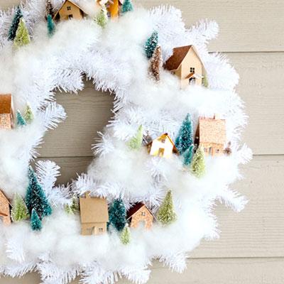DIY Winter village wreath (free printable)