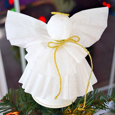 Easy DIY coffee filter paper angel - Christmas ornament