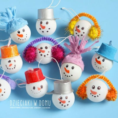 Table tennis ball snowman Christmas ornament - craft for kids