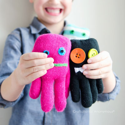 DIY Glove monster soft toys - easy sewing craft for kids