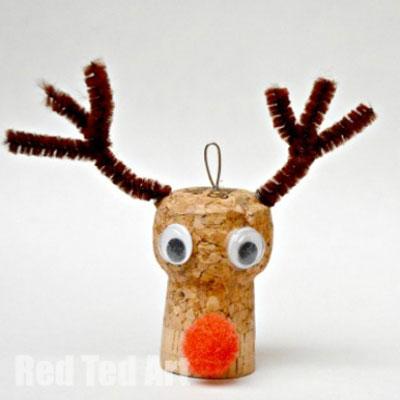 Wine cork Rudolph reindeer Christmas tree ornament