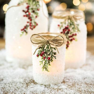 Easy DIY Christmas decor ( candle holder) from mason jar & salt