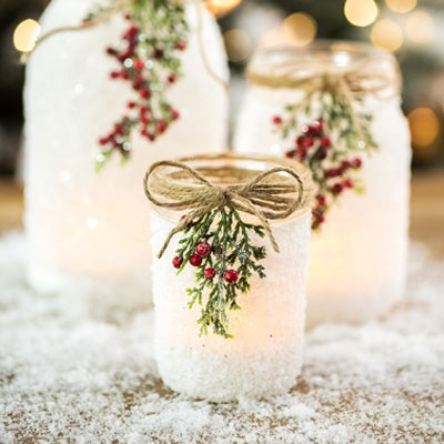 Easy DIY Christmas decor ( candle holder) from mason jar & salt