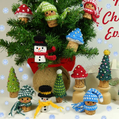 Crochet wine cork ornament - snowman,mushroom, elf & Christmas tree