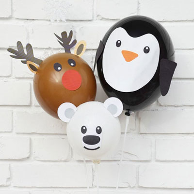 Balloon reindeer,polar bear & penguin - Christmas party decor