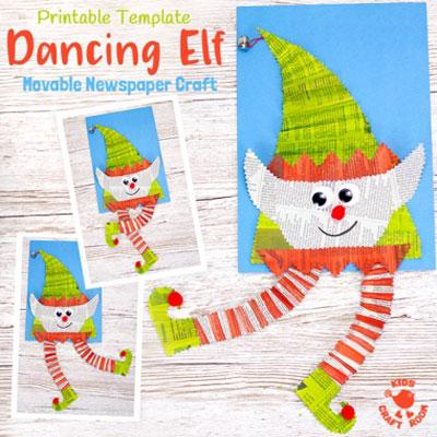 DIY Dancing Christmas elf - newspaper craft for kids
