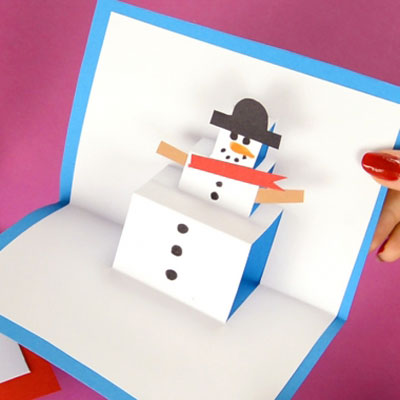 Popup snowman card - easy winter craft for kids