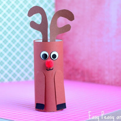Toilet paper roll Rudolph reindeer craft for kids