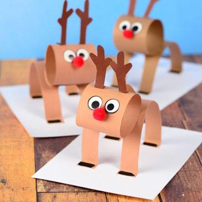 Easy 3D paper strip reindeer craft for kids