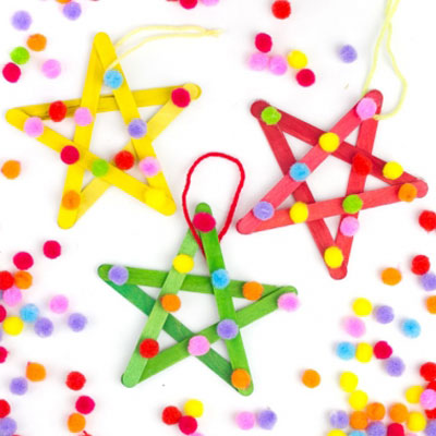 Popsicle stick star ornaments - easy craft stick craft for kids