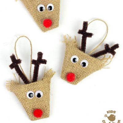 Easy DIY burlap reindeer ornament - Christmas craft for kids