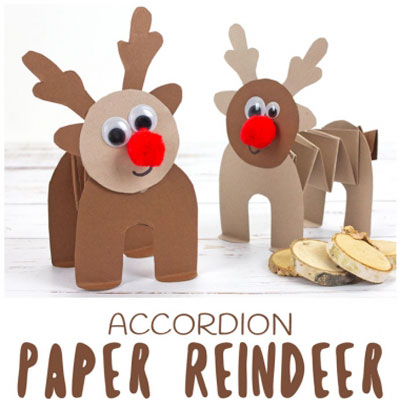 Easy Rudolph reindeer accordion craft for kids