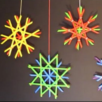 Easy plastic straw snowflakes - Christmas craft for kids