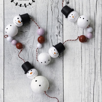 Easy DIY wood bead snowman winter garland