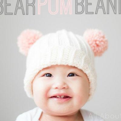 Bear pom pom winter beanie - free crochet bear hat pattern