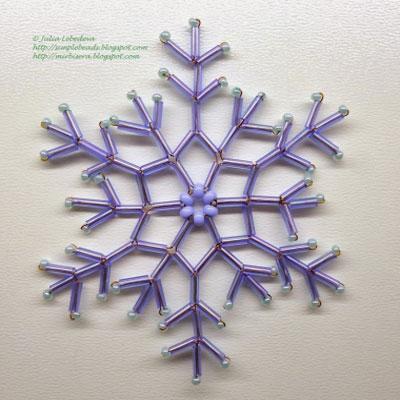 Easy bead snowflake ornament - free beading pattern