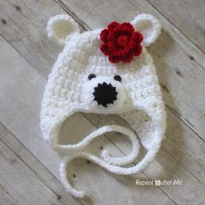 Crochet polar bear hat for kids (free crochet pattern)