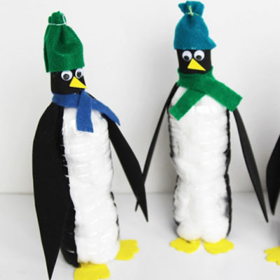 DIY Plastic bottle penguins - winter craft for kids