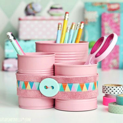 Cute table organizer from tin cans