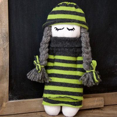 DIY Cute sock doll - sock upcycling craft