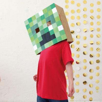 DIY Cardboard box Minecraft (Creeper) mask - easy costume