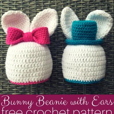 Crochet boy and girl bunny hat - free crochet pattern