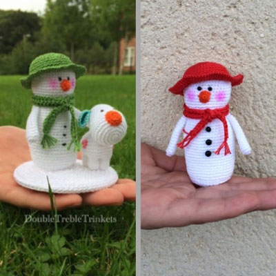Crochet snowman with hat - free amigurumi pattern