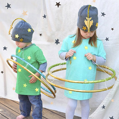 Easy DIY planet costume for kids with hula hoops