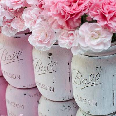 Shabby Chic / vintage  style mason jar vases