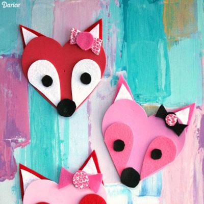 DIY Heart fox - Valentine's day craft for kids